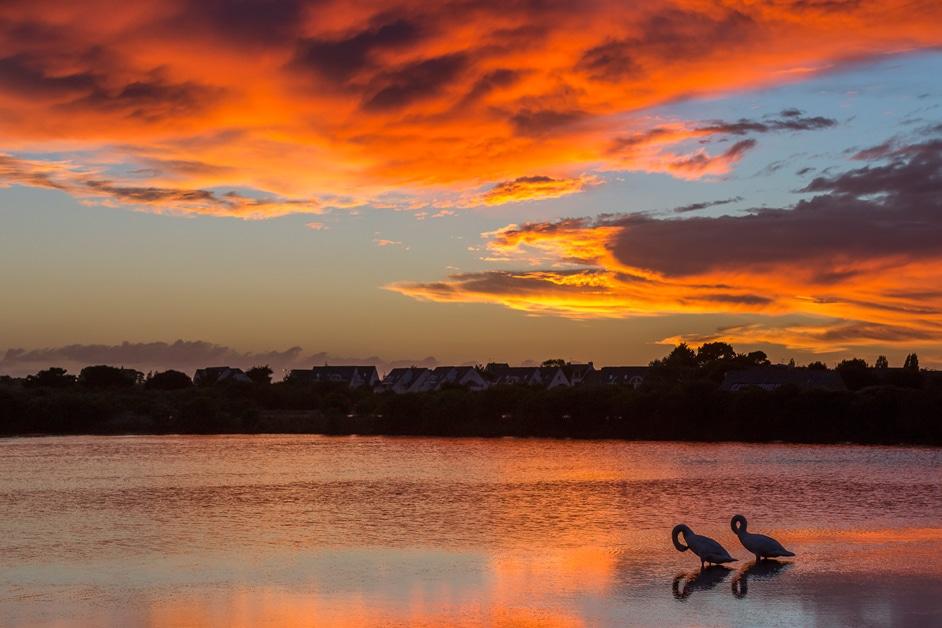Belle vue à Carnac du coucher du soleil sur les Salines