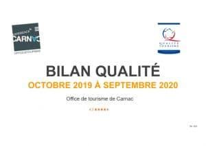 Page de couverture du bilan Qualité de l'Office de tourisme de Carnac période octobre 2019 à septembre 2020