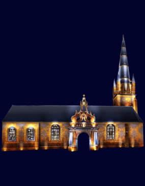 Lumiliz Carnac projection monumentale sur l'église Saint Cornély