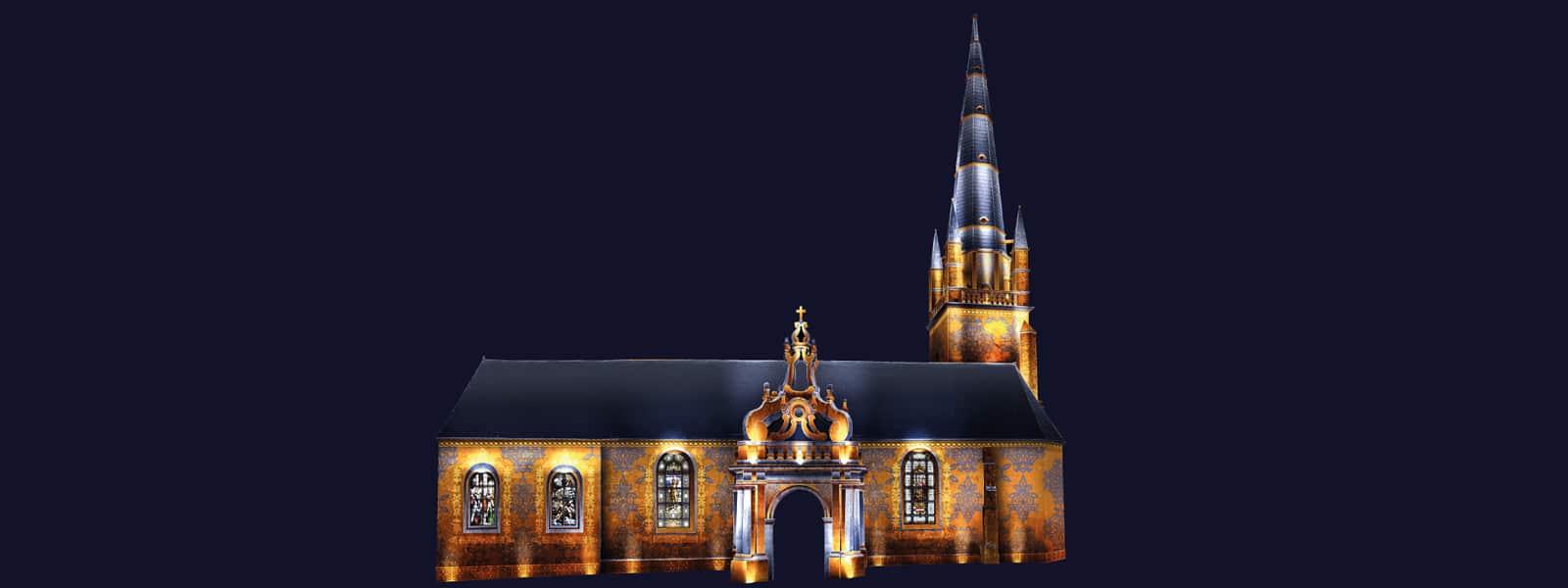 Lumiliz à Carnac projection vidéo monumentale sur l'église Saint Cornély